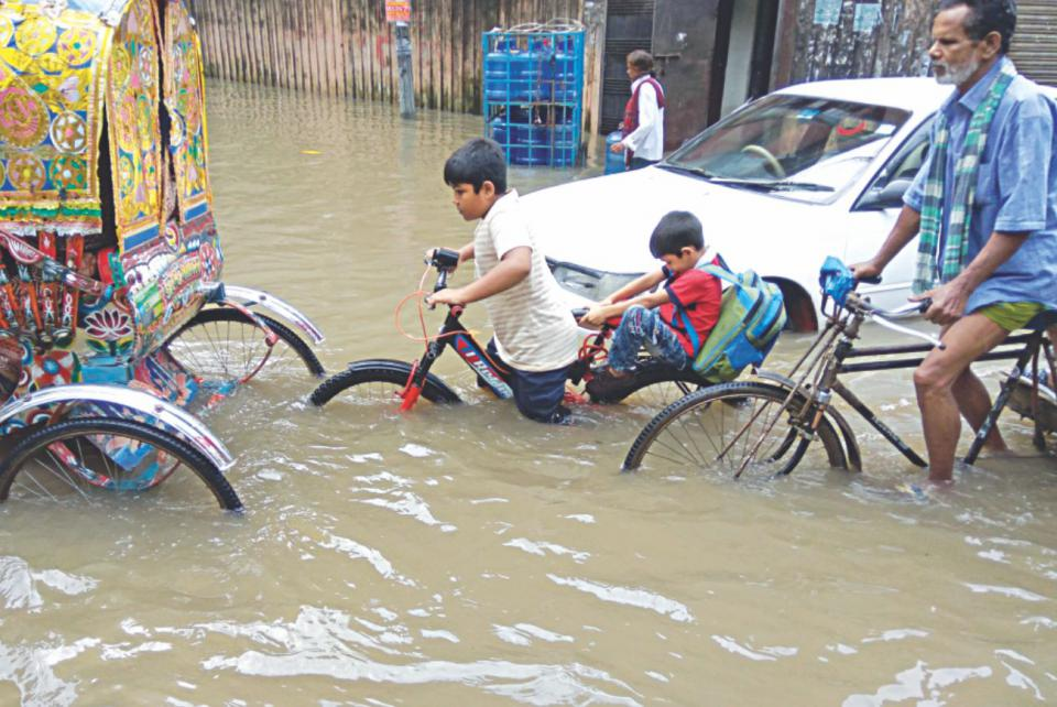 kids from school after rain
