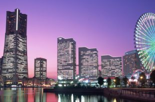 Japan,Honshu,Yokohama,Yokohama Pier,Night View of Minatomirai